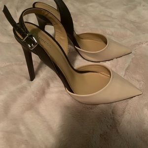 Nude and black sling back heel stiletto